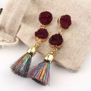NWT Colorful Druzy Stone +Metallic Tassel Earrings